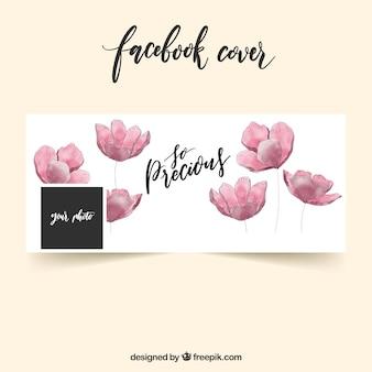 Portada de facebook con flores de acuarela