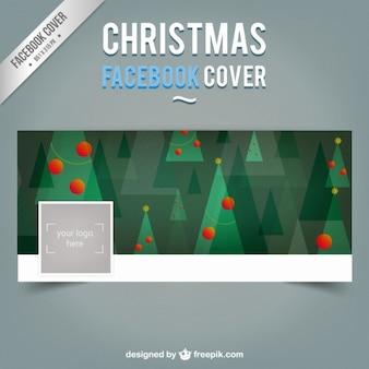 Portada de Facebook de árboles de navidad planos