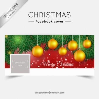 Portada de facebook de bolas doradas