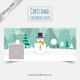 Portada de facebook de muñeco navideño de nieve