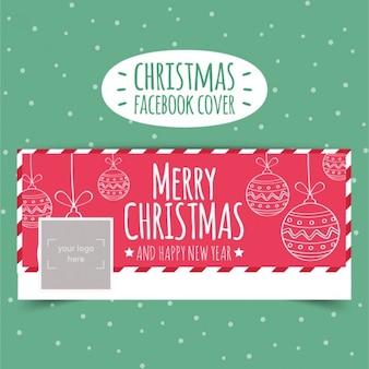 Portada de facebook de navidad esbozada en color rojo