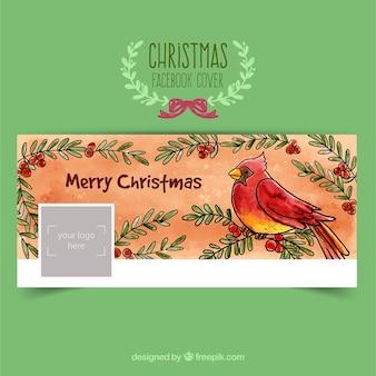 Portada de facebook de pájaro navideño pintada a mano