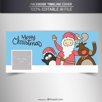 Portada de facebook de personajes navideños esbozados