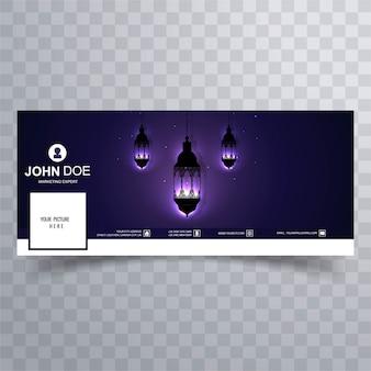 Portada de facebook de ramadan con lámparas