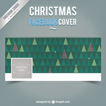 Portada de Facebool de árboles de navidad poligonales