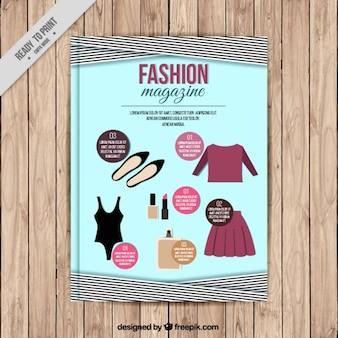 Portada de revista de moda con accesorios y ropa
