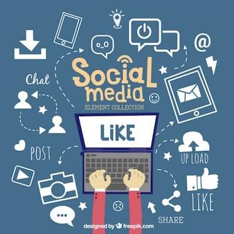 Portátil con elementos de redes sociales dibujados a mano