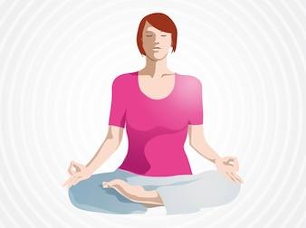 Posición de la yoga del loto chica relajarse