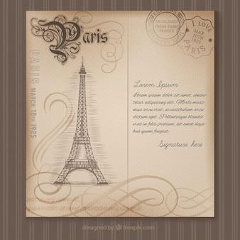 Postal de París en estilo retro