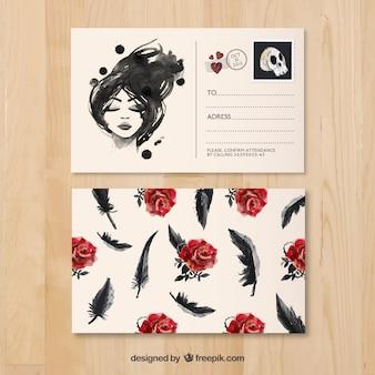 Postal pintada a mano con rosas y plumas
