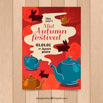 Póster creativo del festival de mitad del otoño