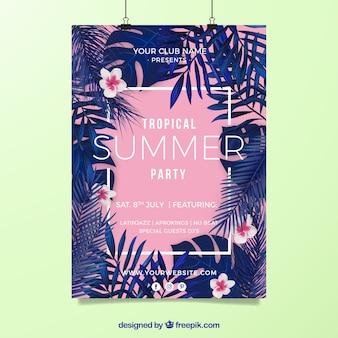Póster de festival de música de verano tropical