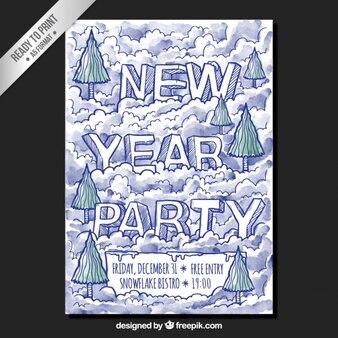 Póster de fiesta de fin de año dibujado a mano