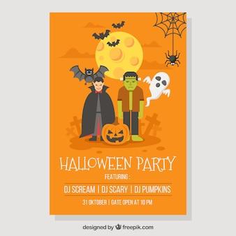 Póster de fiesta de halloween con monstruos