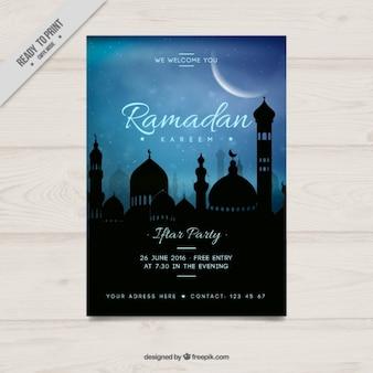 Póster de fiesta de ramadán azul