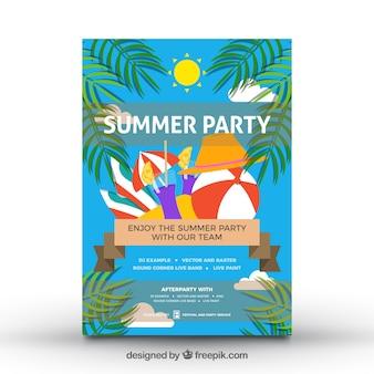 Póster de fiesta de verano con diseño de palmeras