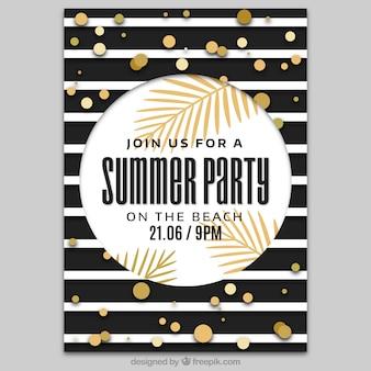 Póster de fiesta de verano con diseño de rayas