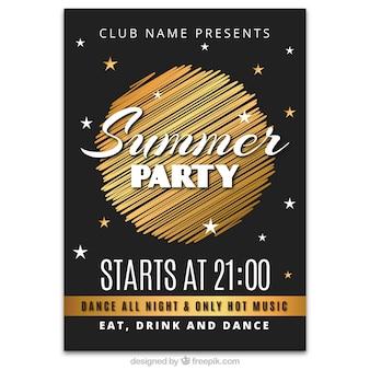 Póster de fiesta de verano con diseño dorado