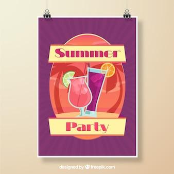 Póster de fiesta de verano con diseño morado
