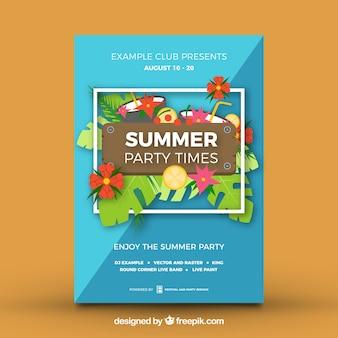 Póster de fiesta de verano con diseño tropical