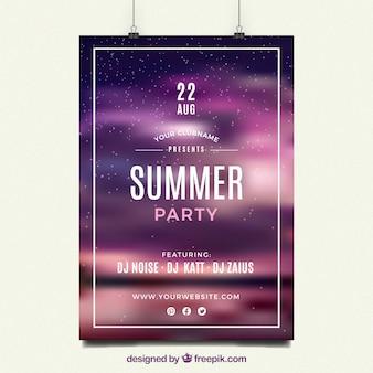 Póster de fiesta nocturna de verano