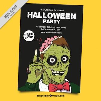 Póster de halloween con un zombi verde