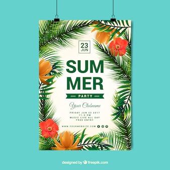 Póster de verano con diseño de palmeras