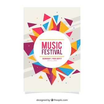 Poster geométrico colorido de festival de música