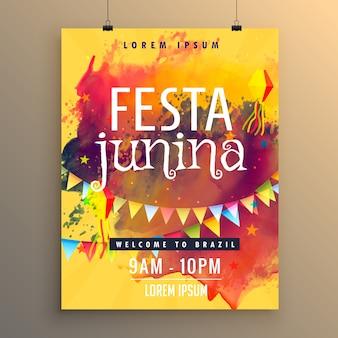 Póster para festa junina con manchas coloridas de pintura