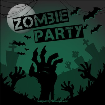 Póster verde de fiesta zombie