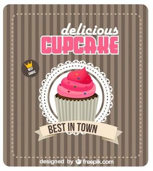 Poster vintage con cupcake