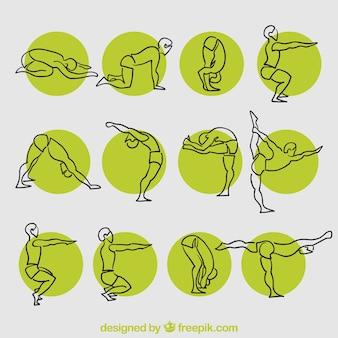 Posturas de yoga esbozadas