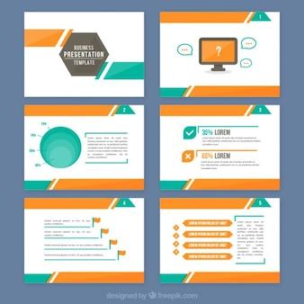 Presentación abstracta con detalles naranjas y verdes