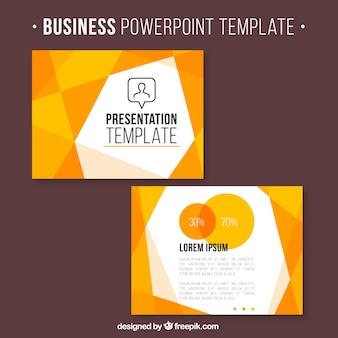 Presentación de negocios con formas geométricas naranjas