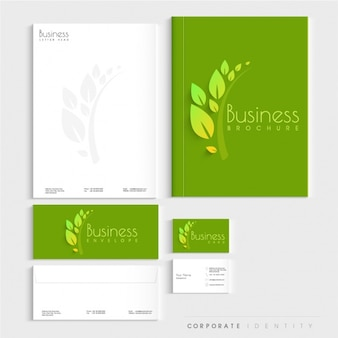 Presentación de papelería corporativa verde y blanca