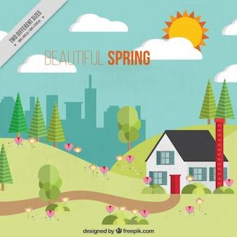 Primavera bonita en diseño plano