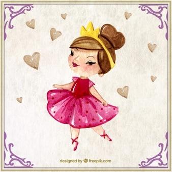 Princesa adorable de acuarela con una corona