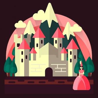 Princesa con castillo en diseño plano