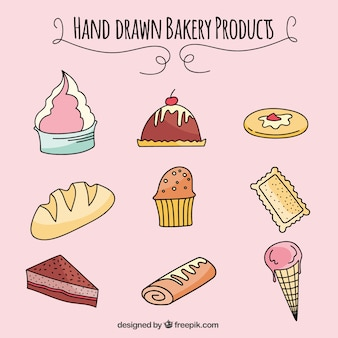 Productos de panadería dibujados a mano