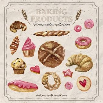 Productos de panadería horneados en acuarela
