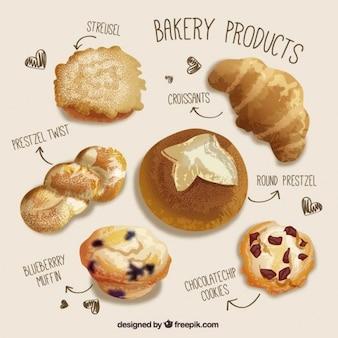 Productos de panadería realistas