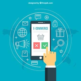 Productos y dedo tocando la pantalla del móvil