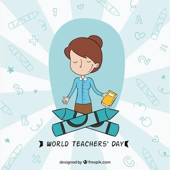Profesora contenta en el día mundial de los docentes