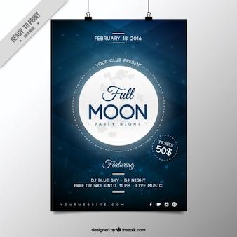 Póster de fiesta nocturna luna llena