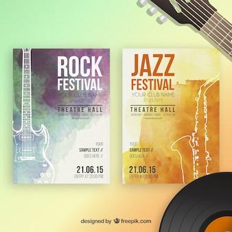 Pósters de festivales de música de acuarela