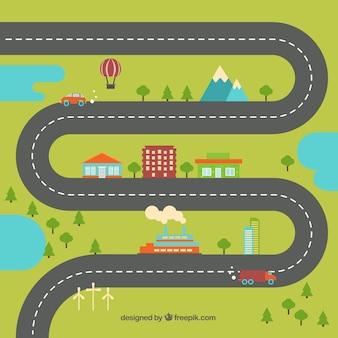 Pueblo en diseño plano con una carretera curva