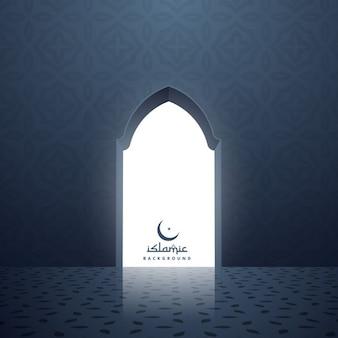 Puerta de la mezquita con la luz blanca que viene del interior