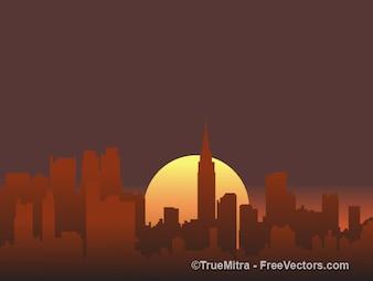 Puesta de sol ciudad siluetas conjunto de fondo vector