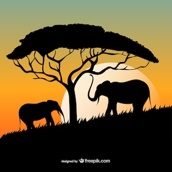 Puesta del sol africana con los elefantes y las siluetas de árboles