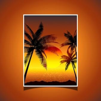 Puesta del sol tropical con palmeras